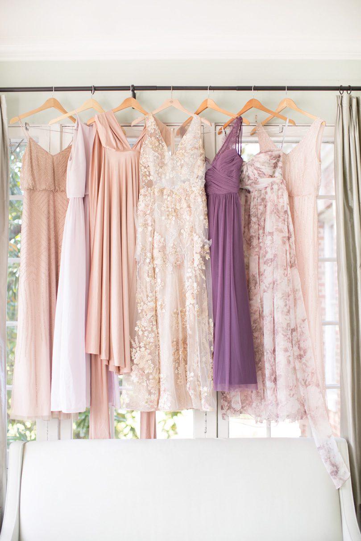 Mismatched Bridesmaids dresses BHLDN bridesmaid dresses blush and pastel pink dresses duke chapel