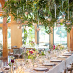 Romantic NC Wedding with Hanging Floral Chandeliers by Watered Garden at Doris Duke Center Duke Gardens wedding by Gather Together Photography by Katherine Miles Jones