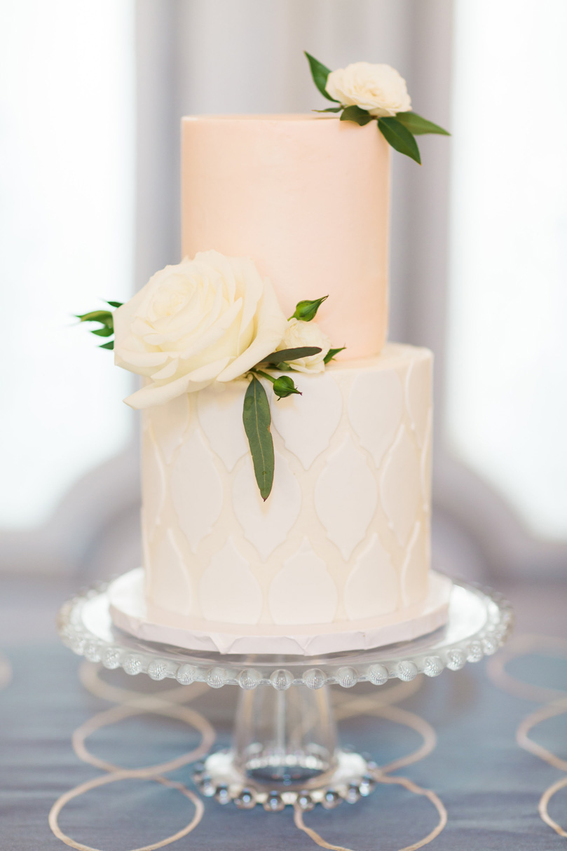 Simple white small case with white roses by Cupcake Shoppe, a raleigh NC bakery, at The Merrimon Wynne by Gather Together, Melissa Delorme
