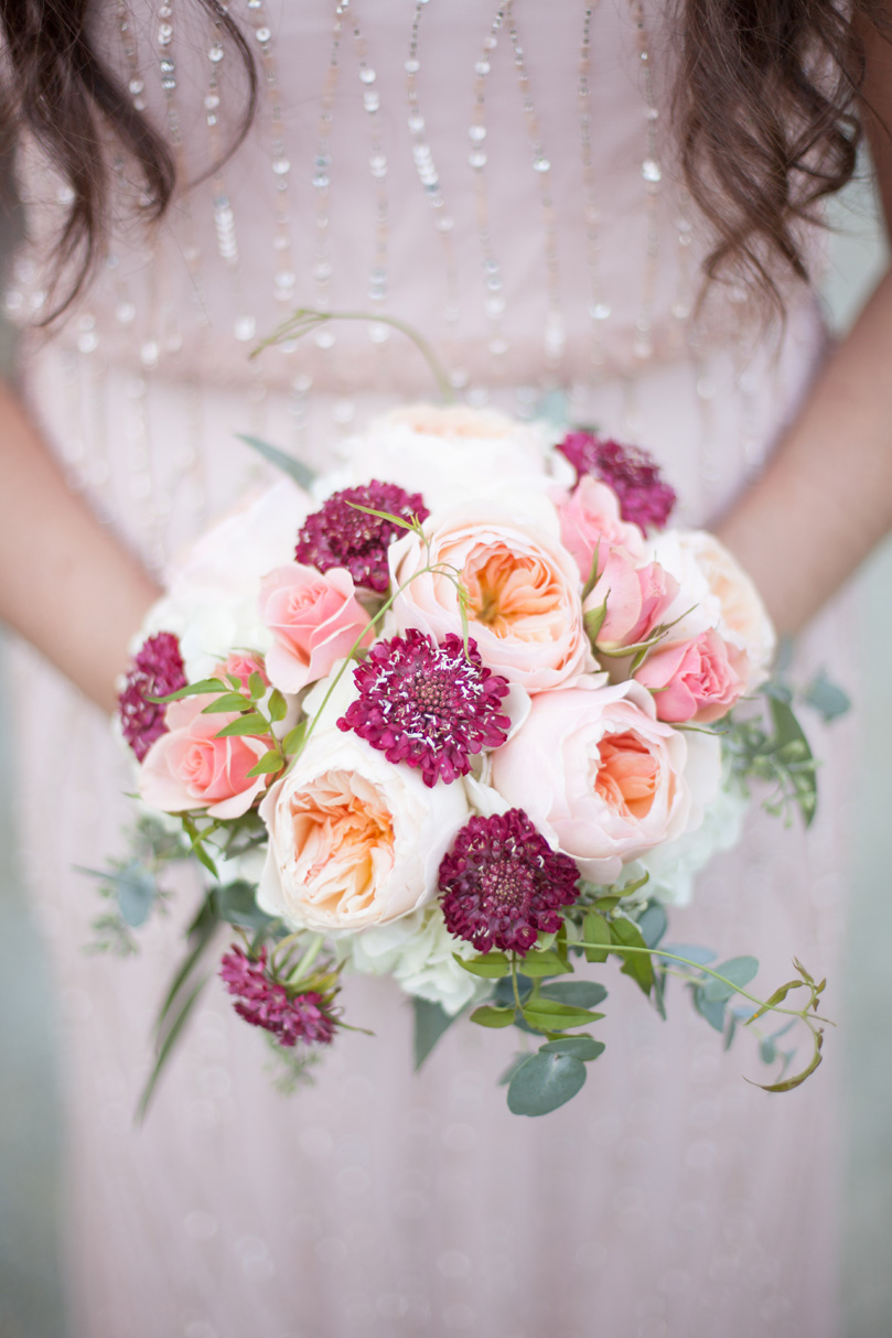 Spring Pink Bridesmaid Bouquet by Watered Garden White Flower and Eucalyptus Bridal Bouquet by Watered Garden Duke Gardens wedding by Gather Together Photography by Katherine Miles Jones