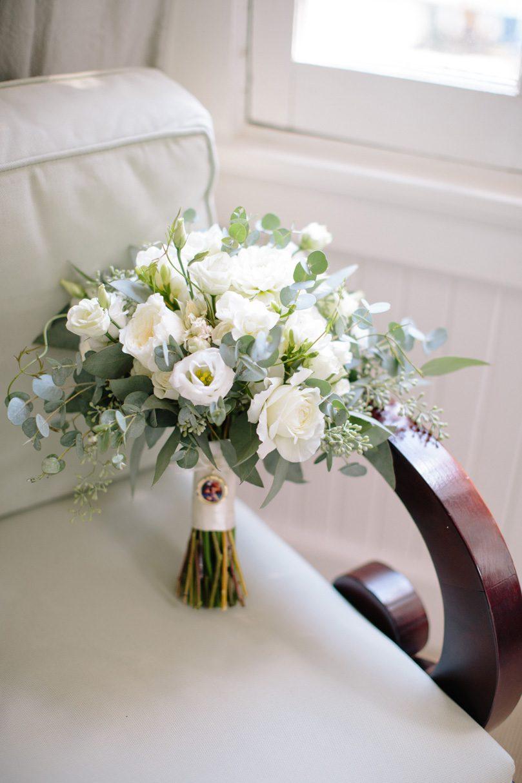 Watered Garden Bridal Bouquet, In memoriam locket, Charm on bridal bouquet, white roses