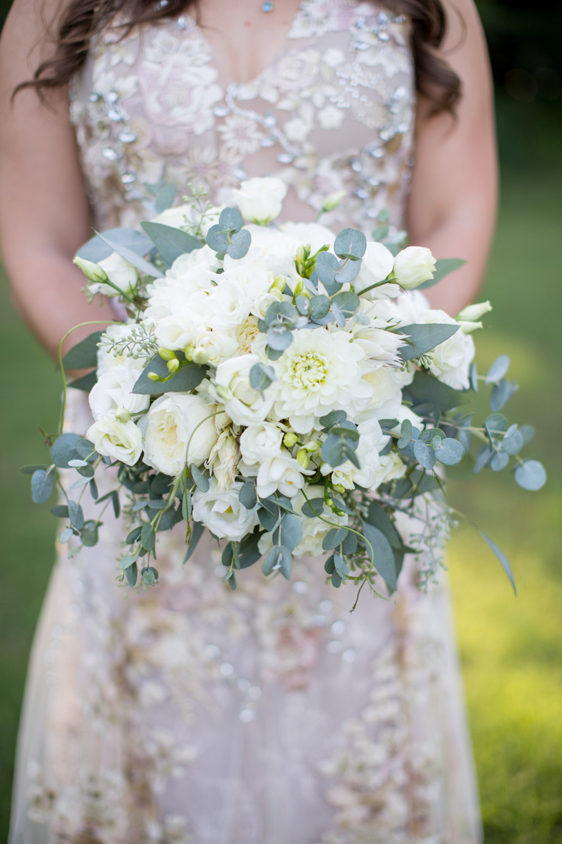 White Flower and Eucalyptus Bridal Bouquet by Watered Garden Duke Gardens wedding by Gather Together Photography by Katherine Miles Jones (1)