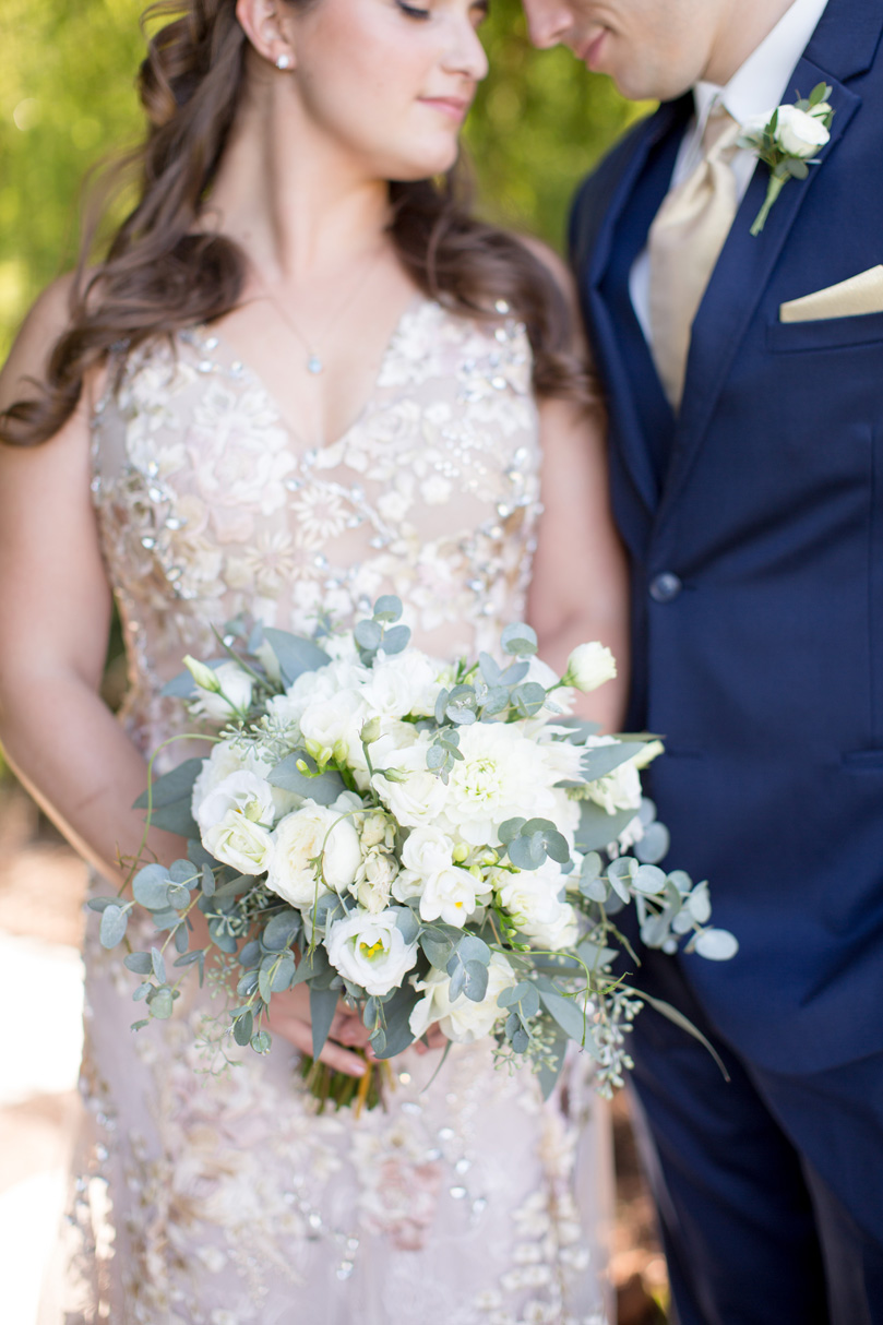 White Flower and Eucalyptus Bridal Bouquet by Watered Garden Duke Gardens wedding by Gather Together Photography by Katherine Miles Jones