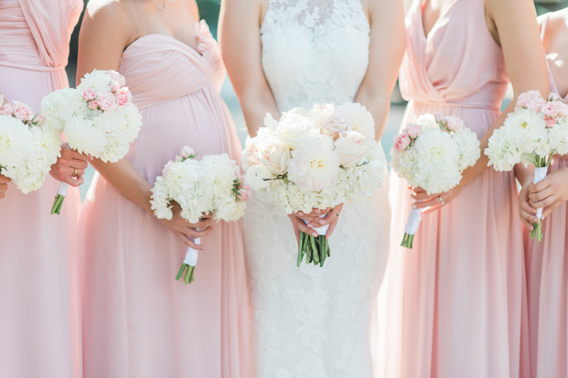 Blush bridesmaids with white and blush bouquets by Victorian Seasons Missy Loves Jerry Photography_1