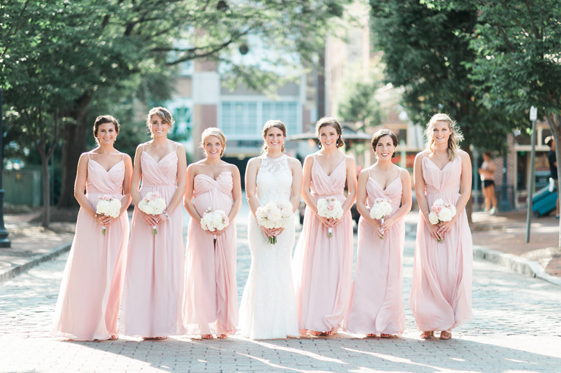 Blush maxi bridesmaids in downtown raleigh wedding Missy Loves Jerry Photography