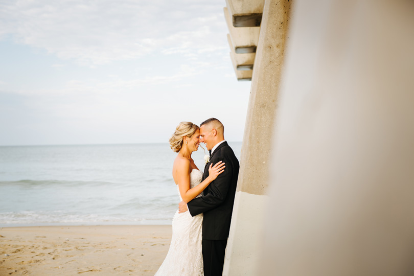 Bride and Groom at Jennette's Pier in Nags Head for Wedding, Sarah D'Ambra