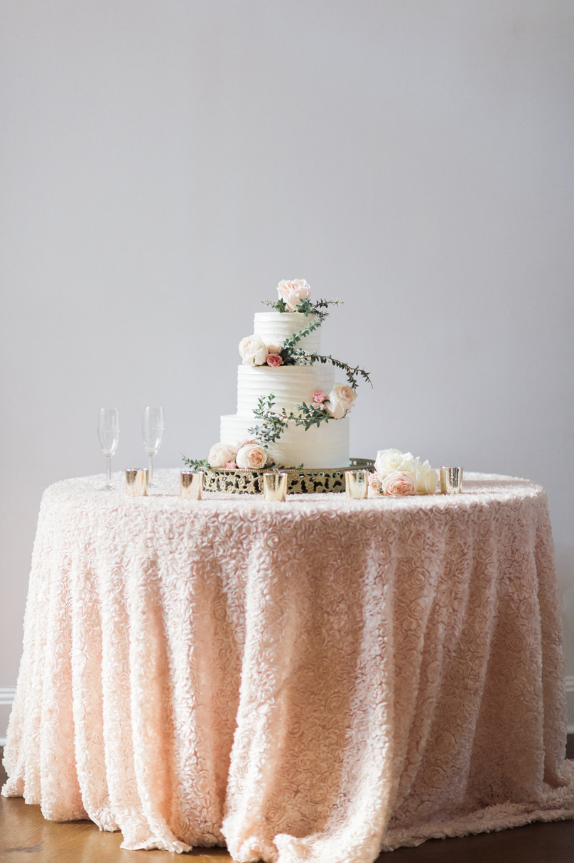 Cake table with white and floral cake by Maxie Bs at Raleigh Wedding Missy Loves Jerry Photography