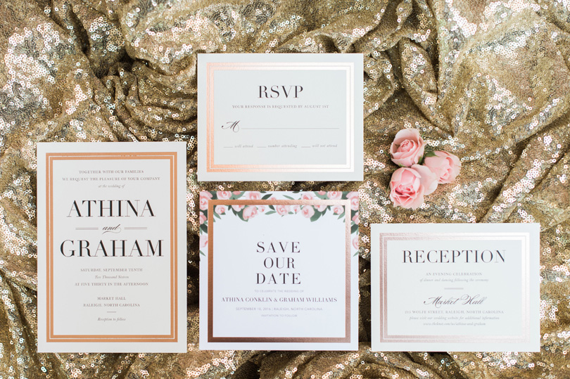 Gold and blush wedding invitations for NC Market Hall wedding by Sally Oakley, Missy Loves Jerry Photography
