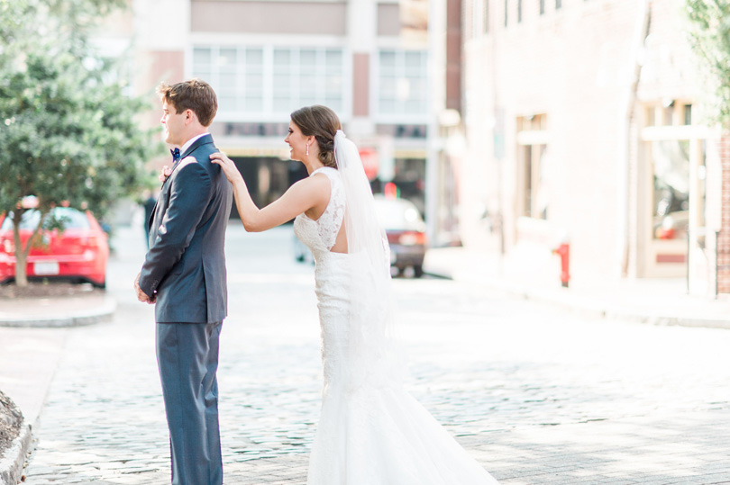 Market Hall Raleigh NC Wedding First look photo by Missy Loves Jerry Photography