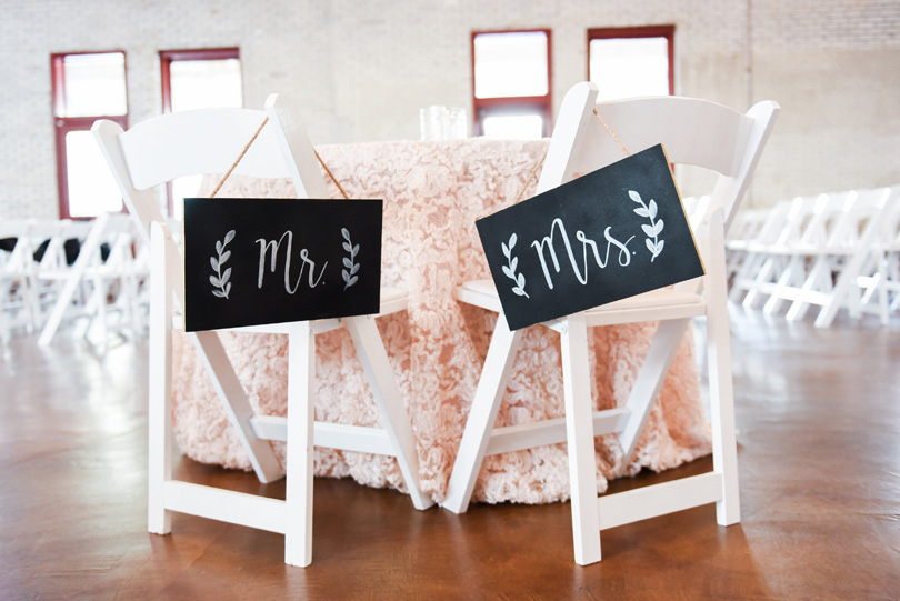 Mr and Mrs chalkboard art for bride and groom table at market hall in raleigh, Missy Loves Jerry Photography