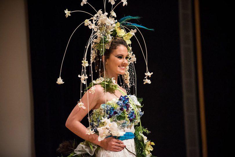 NCMA Art in Bloom fashion Show waterfall Headpiece f8 Photo Studios
