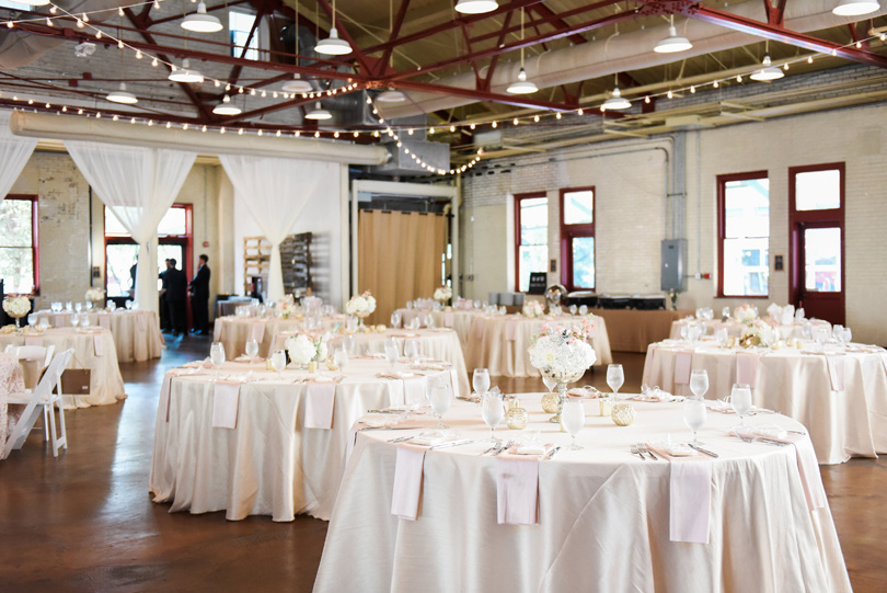 Raleigh NC Market Hall Reception with hanging lights by CE Rentals Missy Loves Jerry Photography