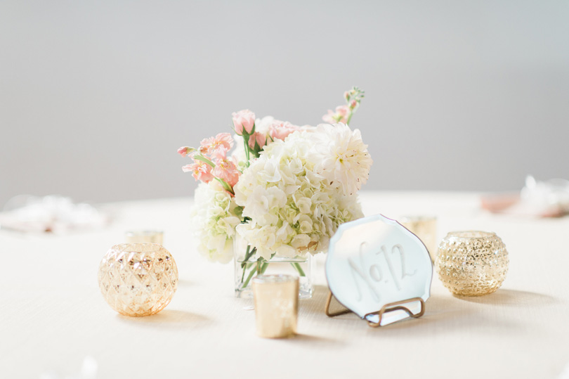 White and gold accents for wedding table with mirror table numbers, Missy Loves Jerry Photography