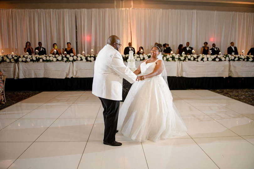 Bride and Groom first dance ballroom at Raleigh Marriott City Center In His Image