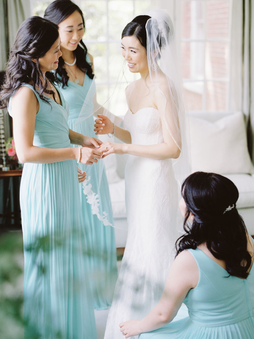 Bride getting ready with bridesmaids in teal gowns Casey Rose_1
