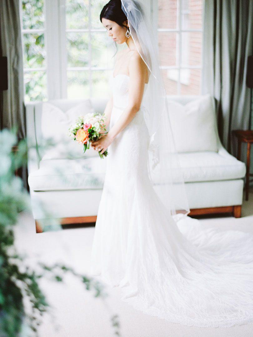 Bride in Monique Lhullier gown at Duke Gardens Casey Rose_1