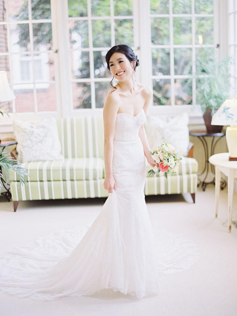 Bride in Monique Lhullier strapless gown at Duke Gardens Casey Rose_1