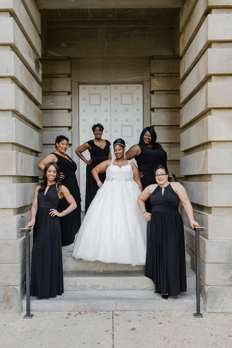 Bridesmaids in classic black gowns at Raleigh Marriott City Center In His Image