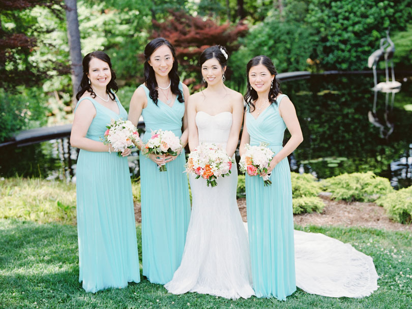 Bridesmaids in teal gowns by Davids Bridal at Duke Gardens Casey Rose_1