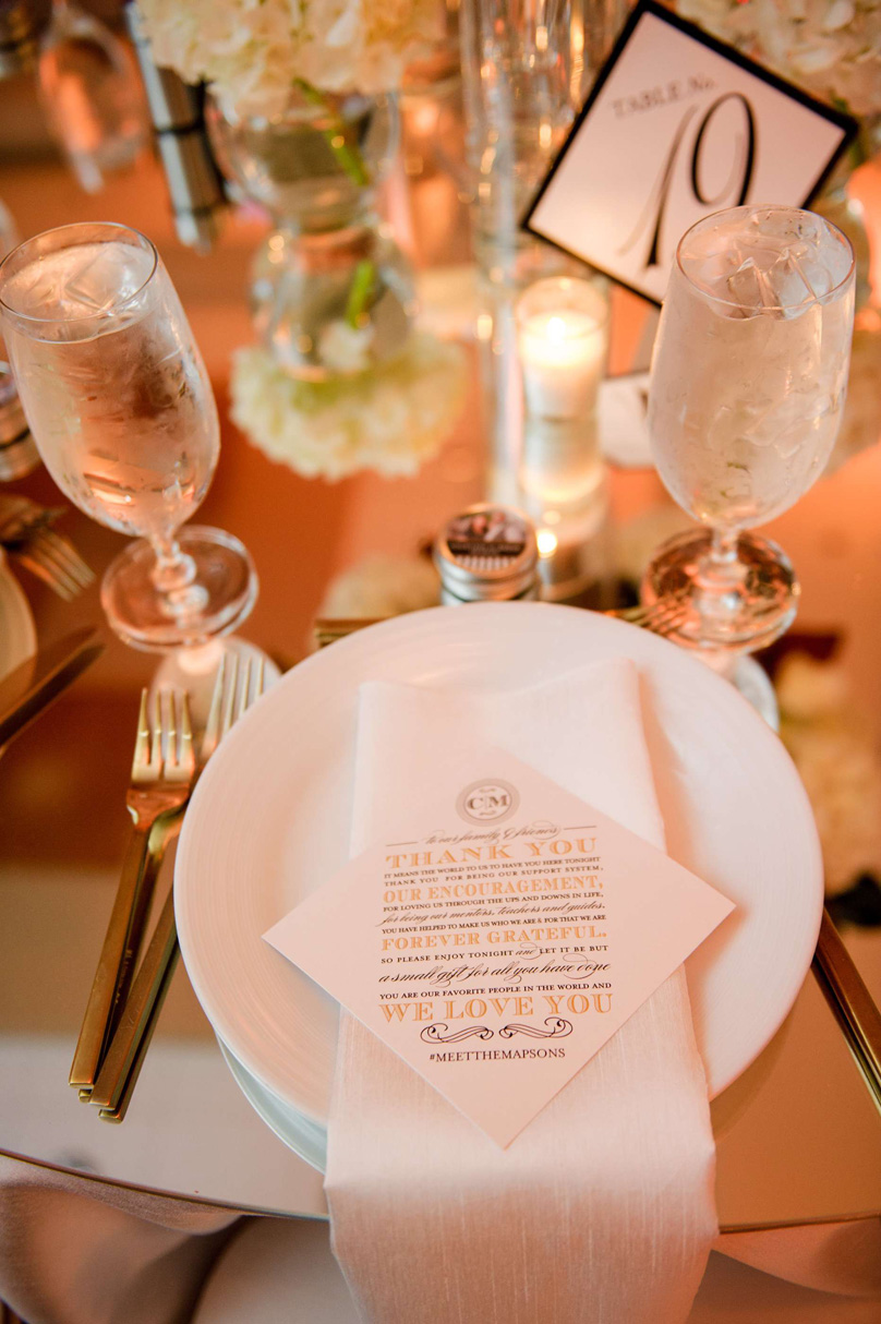 Classic wedding tablescape at Raleigh Marriott City Center In His Image