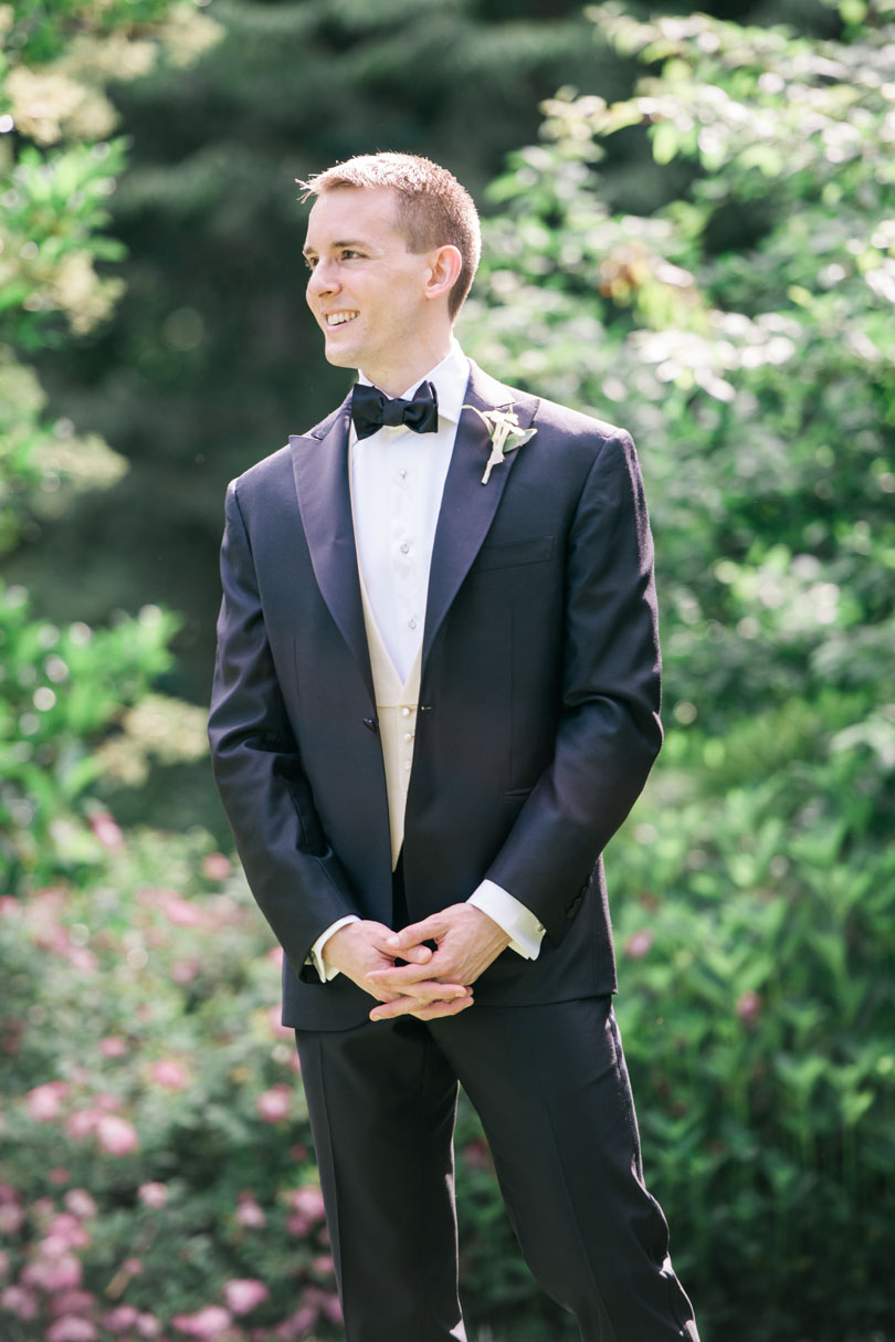 Groom in classic black tuxedo at Duke Gardens Casey Rose_1