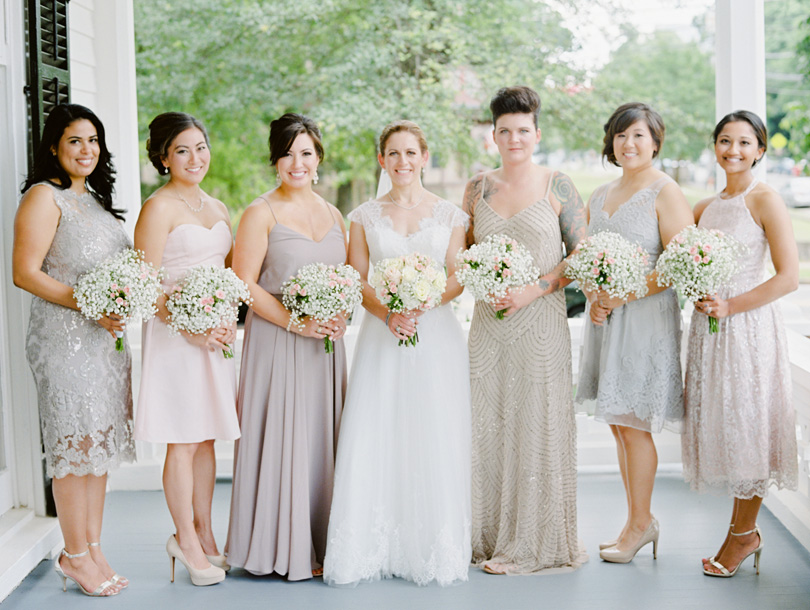 Mismatched neutral bridesmaids dresses at Merrimon Wynne Casey Rose