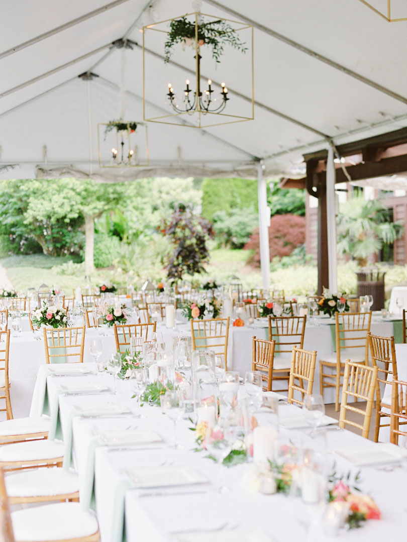 Outdoor wedding with geometric lights and spring flowers by Tre Bella Casey Rose_1