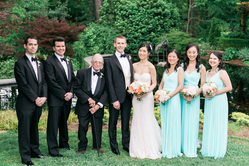 Wedding Party in black tuxes and teal gowns at Duke Gardens Casey Rose_1