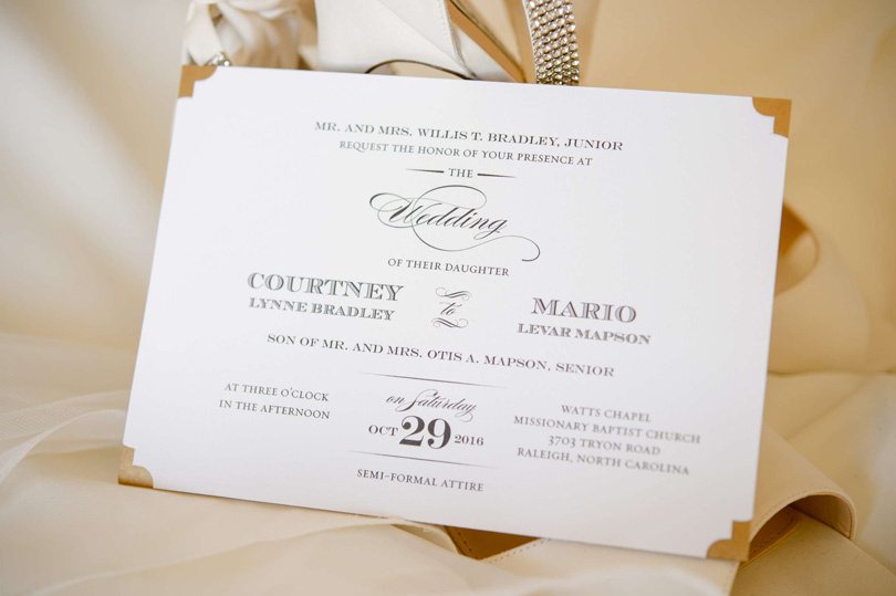 simple black and white invitations for Raleigh wedding In His Image