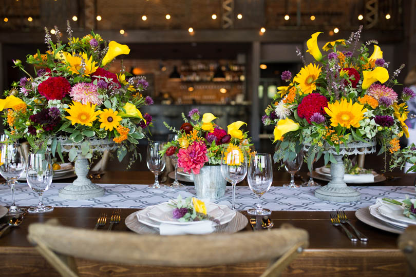 Bright Summer floral wedding table inspiration by Ninth Street at The Cookery by Robin Lin