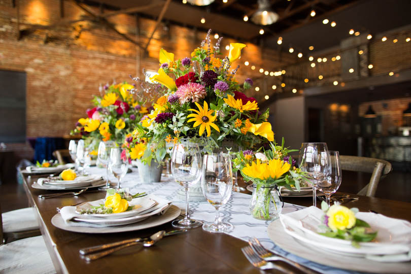 Close up rentals by American Party Rentals and florals by Ninth Street at The Cookery by Robin Lin