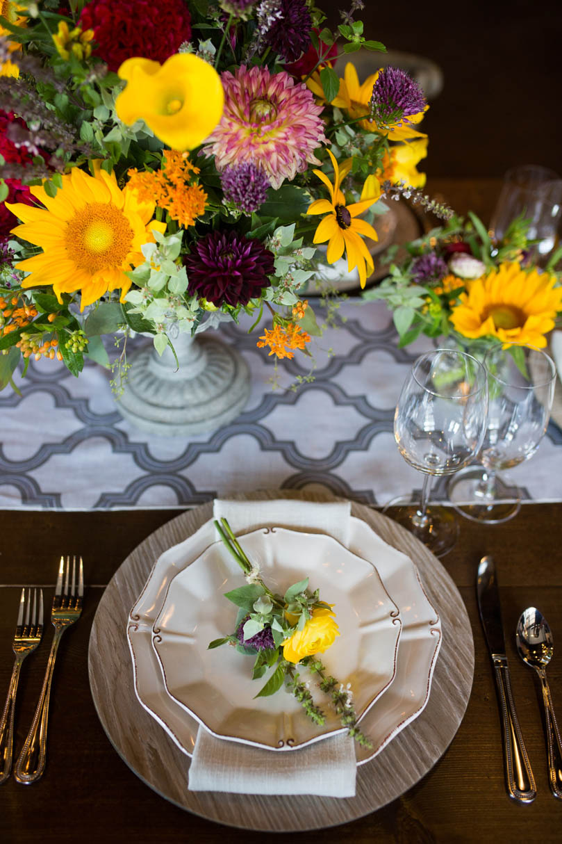 Floral Tablescape with yellow flowers by Ninth Street at The Cookery by Robin Lin