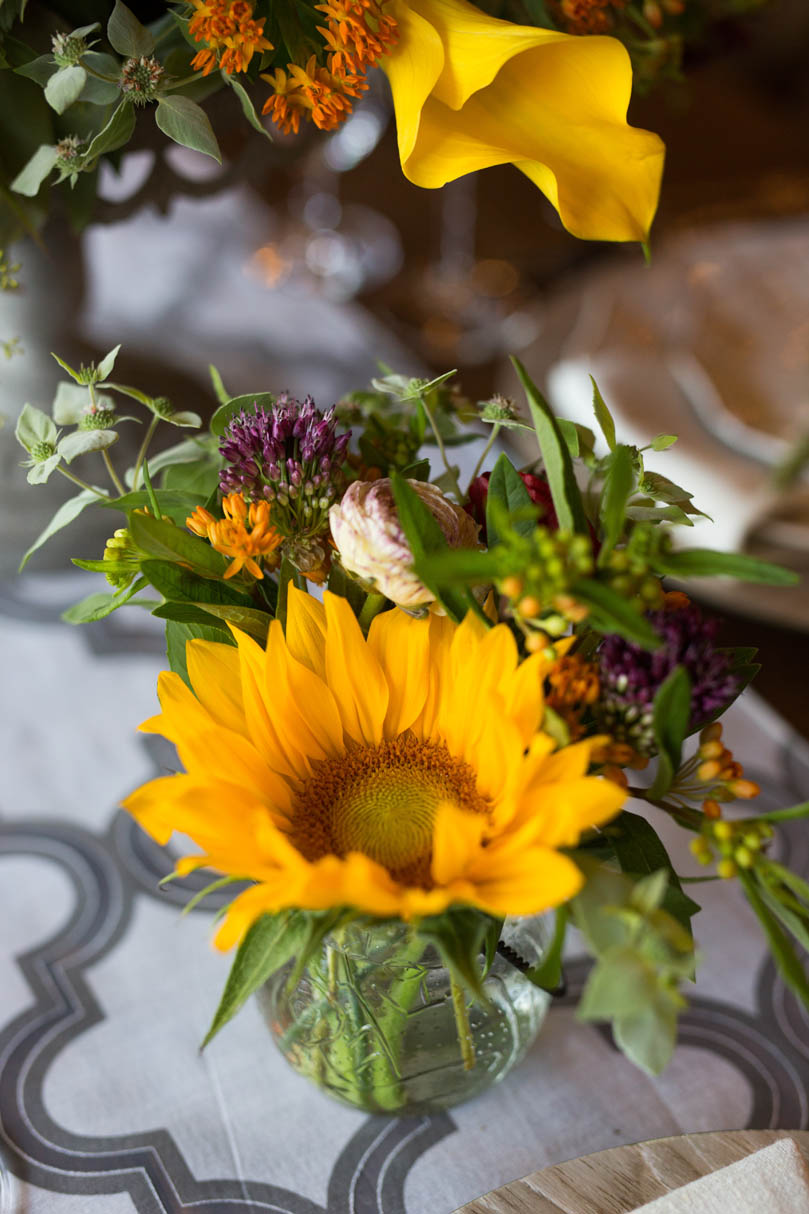 Sunflowers at wedding by Ninth Street at The Cookery by Robin Lin