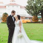 Bride and Groom smile to one another after wedding at Pinehurst Resort, Mary Me