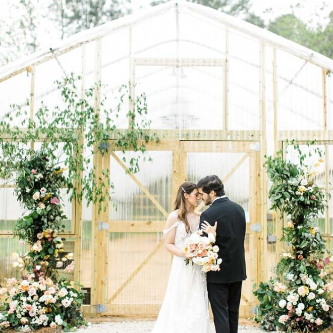 Bride Groom Greenhouse Wedding Bluebird Meadows Farm Mid-Century Wedding Venue in Louisburg, NC