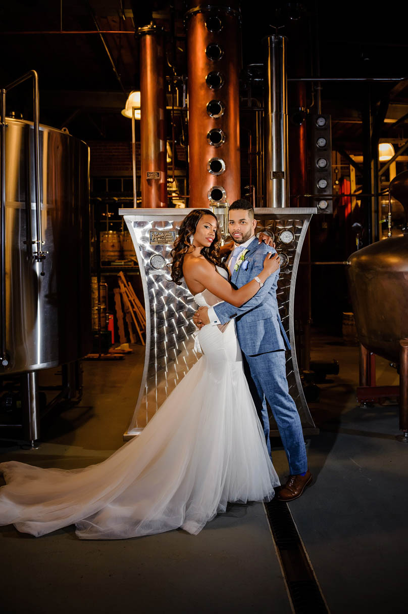 Bride and Groom with in brewery of The Rickhouse, In His Image