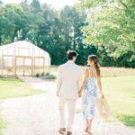 Couple Engagement Photos Bluebird Meadows Farm Mid-Century Wedding Venue in Louisburg, NC Danielle Flake