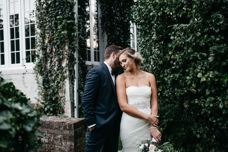 Artistic shot of Bride and Groom intimate moment in front of estate wedding, by McLean Events, Michelle Lyerly2
