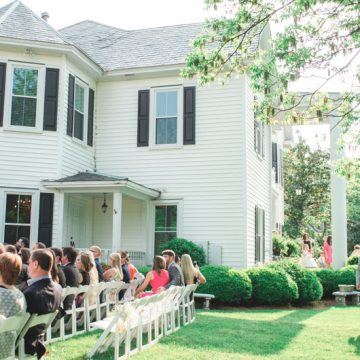 Wedding Ceremony outside on lawn in Cary, NC at The Matthews House, Fancy This