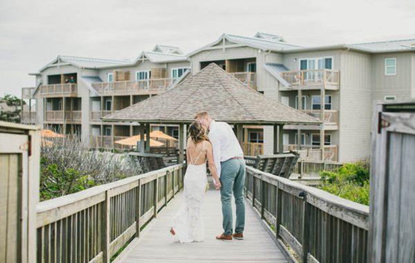 Couple on pier at Sanderling Resort Wedding