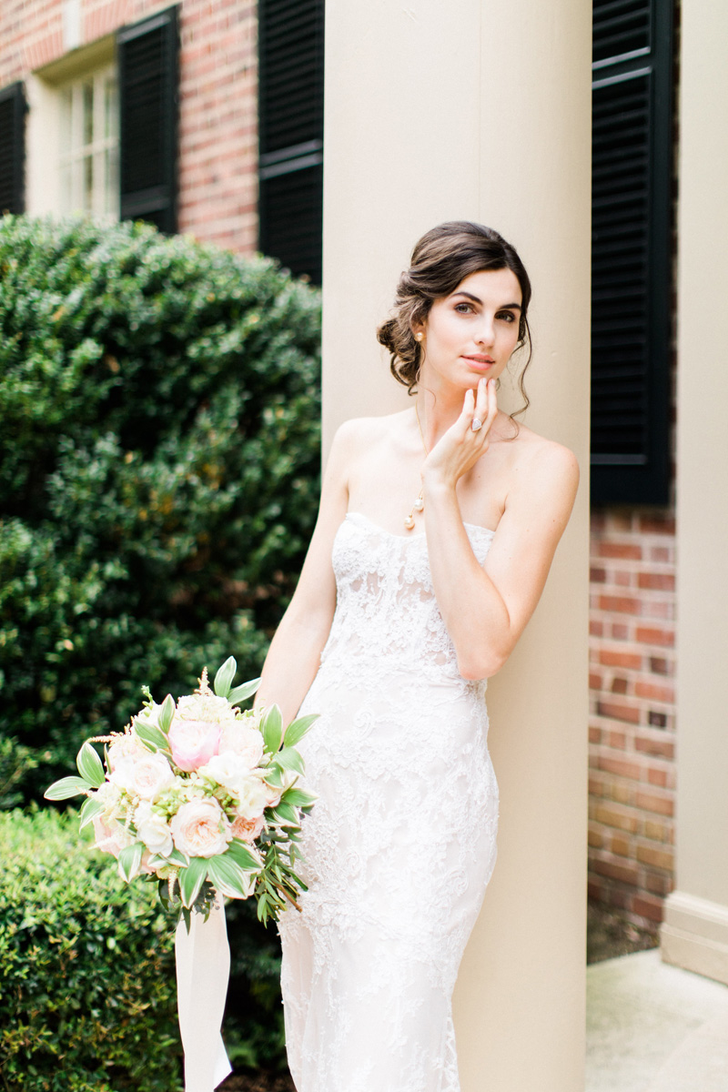 Bride-in-Alyne-by-Rita-Vinieris-from-Traditions-Bridal-in-Raleigh-and-Flowers-by-Watered-Garden-Florist-Bronwyn-Duffield.