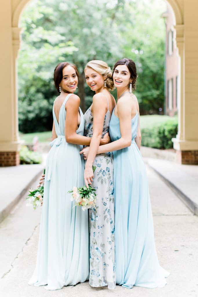 Bridesmaids-in-mismatched-shades-of-blue-gowns-by-Joanna-August-from-Bella-Bridesmaids-in-Raleigh-at-The-Carolina-inn-for-Southern-Bride-Groom-by-Bronwyn-Duffield
