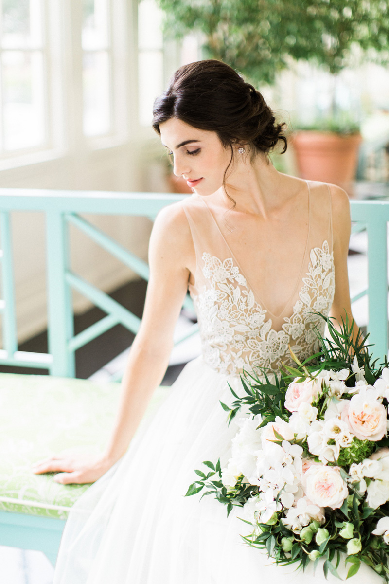 Most-Romantic-Wedding-Gown-by-Alexandra-Grecco-at-Raleigh-NC-Bridal-Shop-Gilded-with-Bridal-Bouquet-by-Watered-Garden-at-The-Carolina-inn-by-Bronwyn-Duffield