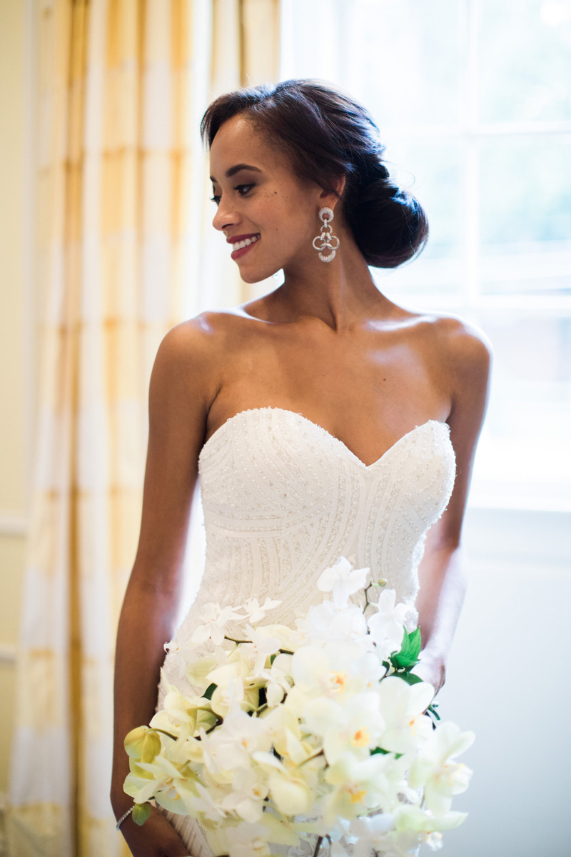 Strapless-beaded-gown-by-Kittychen-Couture-from-The-WEdding-Dress-Shoppe-in-Wilmington-with-bouquet-by-Watered-Garden-at-The-Carolina-Bronwyn-Duffield