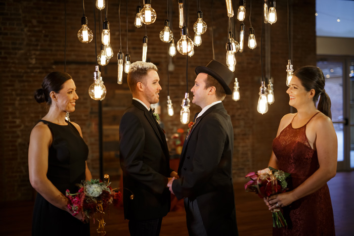 Black and Red Industrial Same Sex wedding at Cloth Mill by Grace LEisure, Richard Barlow