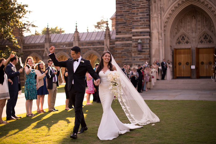 Bride and Groom walk out of Duke Chapel Ceremony, Morgan Henderson