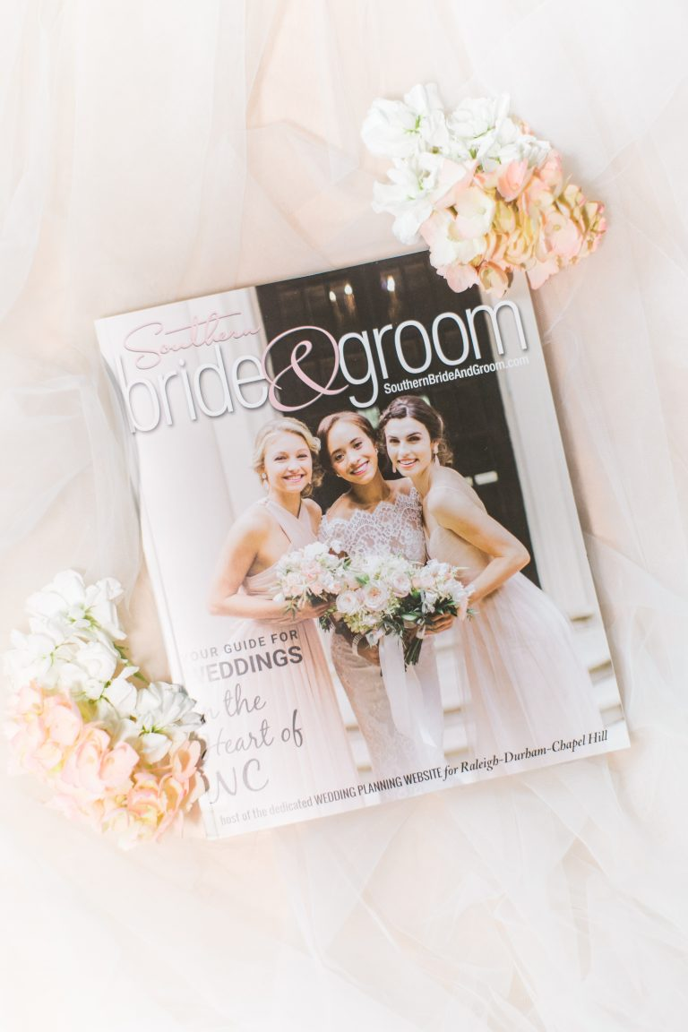 Southern Bride and Groom 2018 cover NC Weddings Magazine by Bronwyn Duffield