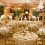 Gold wedding reception at The Grand Marquis ballroom in Garner, NC