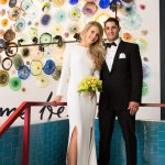 Wedding portrait in front of Vidrio glass wall by Robin Lin Photography