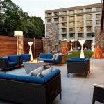 Hotel wedding venue with outdoor seating Raleigh Marriott Crabtree Valley